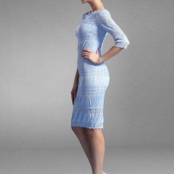 Light Blue Knee-Length Slim Fit Party Dress