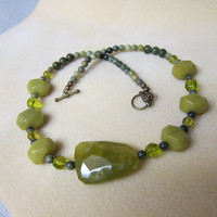 Gorgeous Green Lime Olive Agate Focal Bead Necklace Jasper handmade by WatercolorsNmore