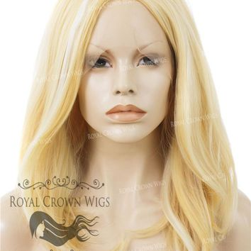 """17 inch """"Victoria"""" Straight Texture Bob Heat Safe Synthetic Wig Yellow Blonde"""