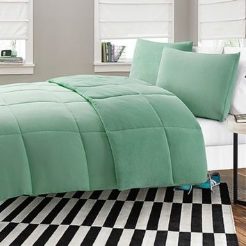 Microfiber-to-Plush Reversible 2-3 Piece Comforter Set in Aqua