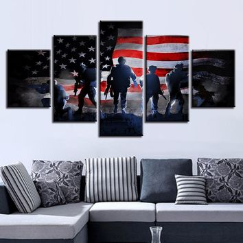 Fast US Ship - 5 Piece Panel US American Flag with Soldiers Military