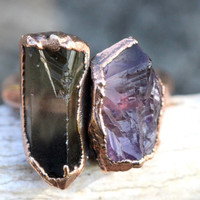 Raw Crystal Ring Smoky Quartz Crystal Ring Raw Amethyst Ring Multistone Ring Double Stone Ring Natural Crystals and Stones Raw Stones Size 7