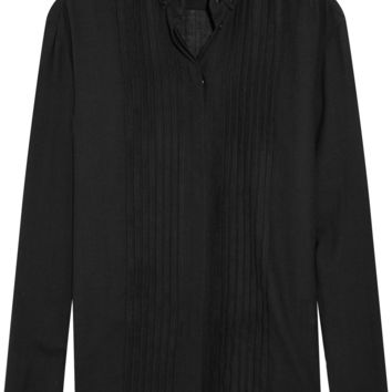 Anthony Vaccarello - Pintucked wool-blend shirt