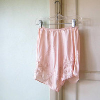 Vintage 1930s-'40s Peach Silk Tap Pants w/ Floral Insets; Women's XS-Small High-Waist Panties/Drawers/Knickers; Bettie Page/Pin-Up Panties