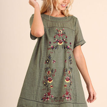 Floral Embroidered Lace Trim Boho Tunic in Olive by Umgee