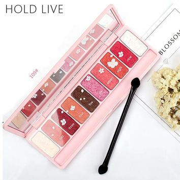 HOLD LIVE Pink Cherry Blossoms Eye Shadow Palette 10 Color Matte Diamond Glitter Metallic Wet And Dry Eyes Shadows Make Up Brand