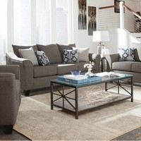2 pc Salizar collection grey linen like fabric upholstered sofa and love seat set