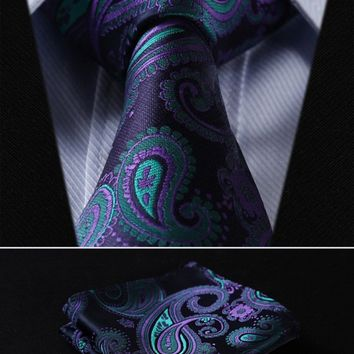 "Men's Ties T 3.4"" 100%silk Wedding Woven Pocket Square Set suite"