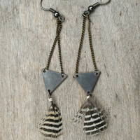 Mini Distressed  Raw Triangle Brass Tiger Stripe Feathers Earrings