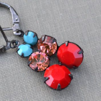 Turquoise, Peach and Red Swarovski Earrings, Lever Back Pendant, Ombre Graduated Glass Rhinestone, Bridesmaid Earrings