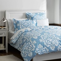 Ikat Medallion Duvet Cover + Sham, Sky Blue