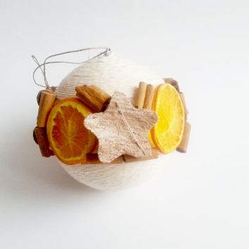 Fragrant christmas tree ornament cinnamon, coconut stars, dried orange, linen cord christmas decoration natural rustic decor