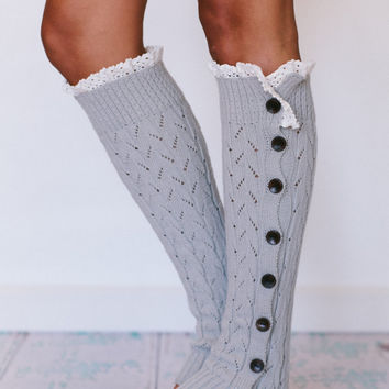 Platinum Gray Lacy Knitted Button Down Leg Warmers (LWK1-03) with Crochet Lace Trim