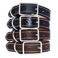 Classic Leather Dog Collar Handmade in 31 Colors,Black Black basket Brown Basket Brown Distressed