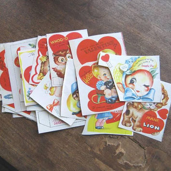 Set of 23 Cut, Unmarked 1950s Valentines: Adorable Kittens, Puppies, Anthropomorphic, Owl, Sailor, Dutch Girl, Cowgirls + More