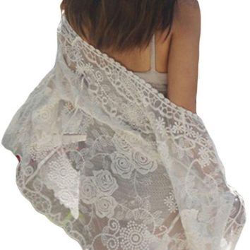 PEAP78W Off White Sheer Rose Lace Beach Cover Up