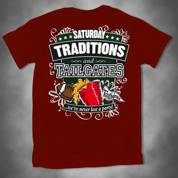 Sweet Thing Saturday Traditions Never Lost a Party Crimson Football Girlie Bright T-Shirt