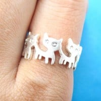 Connected Kitty Cat Parade Animal Ring in Silver | US Size 7 and 8 Only