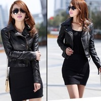 Fashion Womens Black Slim Biker Motorcycle PU Soft Leather Zipper Jacket Coat