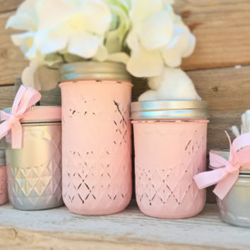 Nursery Decor-Pink and Grey-Baby Shower gift-Chic Masons Jars-Silver-Organizer-Baby Shower Decor-Centerpiece-Birthday Decor-New baby Gift