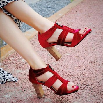 Womens Peep Toe High Block Heel Party Pumps Shoes Bandage Ankle Sandals