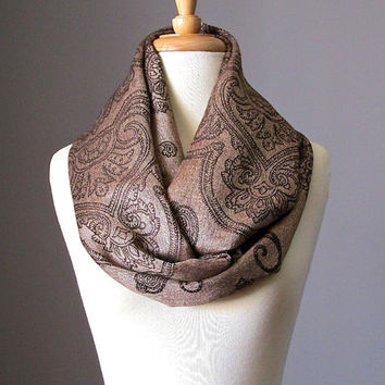 Copper scarf, brown infinity scarf , pashmina, paisley scarf