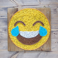 Modern Emoji String Art Wall Decor, tears of joy yellow emoji decoration great gift for somebody who has everything, gift for her or him