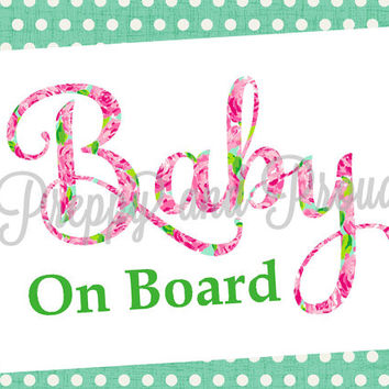 Lilly Pulitzer Baby on Board Car Decal Sticker