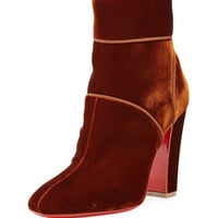 Christian Louboutin Velvet 100mm Red Sole Ankle Boot, Rust