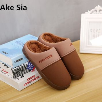 Ake Sia New men's slippers autumn and winter couple home cloth non-slip TPR thickened warm casual cotton slippers