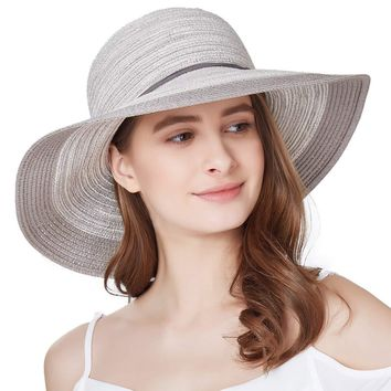 7e361e7e71d SOMALER Women Floppy Sun Hat Summer Wide Brim Beach Cap Packable