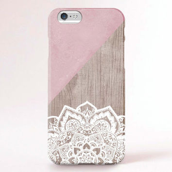 iPhone 6 Case, iPhone 6 Plus Case, iPhone 5S Case, iPhone 5 Case, iPhone 5C Case, iPhone 4S Case, iPhone 4 Case - Mandala wood marble pink