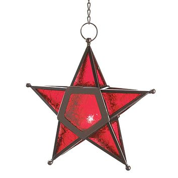 Iron And Red Glass Star Candle Holder Lantern