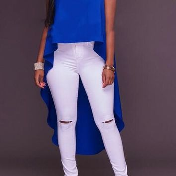 Blue Irregular Swallowtail Draped High-low Band Collar Oversize Casual T-Shirt