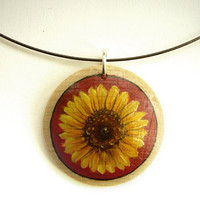 Sunflower Jewelry  -  Flower Necklace  -  Small Painting on Wood -  Hand Painted Pendant - Choker