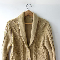 1970s vintage cardigan sweater / sweater wrap / light brown sweater coat with pockets