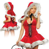 Christmas Hooded Skater Mini Dress Costume Set