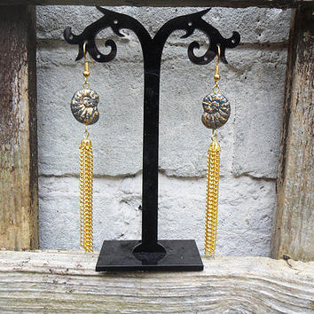 Black and gold ammonite earrings, extravagant long chain tassel earrings, gold plated, vintage Czech glass fossil beads, fossil earrings,
