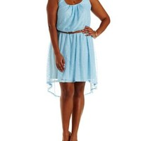 Plus Size Light Blue Belted High-Low Lace Dress by Charlotte Russe