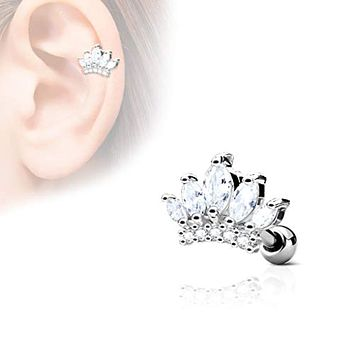 CZ Paved Tiara Top 316L Surgical Steel WildKlass Ear Cartilage Barbell Studs