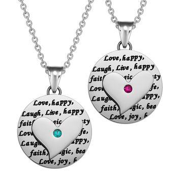 Heart Inspirational Medallions Live Laugh Love Couples or Best Friends Amulets Mint Green Pink Necklaces