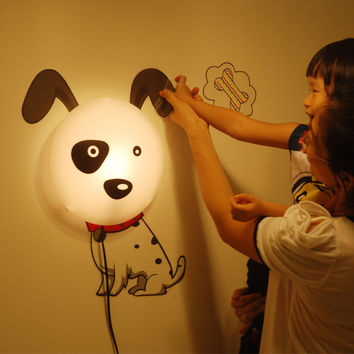 Creative Balloon Dogs Lights Children Diy Cartoons LED Wall Sticker [6272071046]