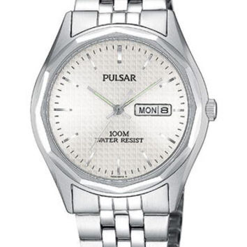 Pulsar Men's Day/Date Watch - Stainless - White Face