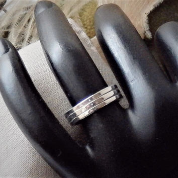 Artisan Crafted Sterling Silver Tri Band Ring Size 6.25