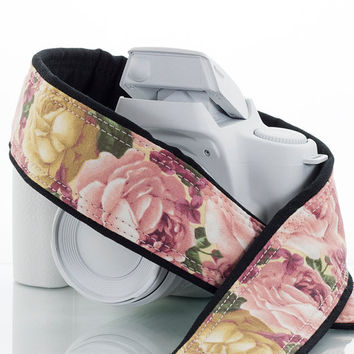 dSLR Camera Strap, SLR, Mirrorless, Heirloom Roses, Pink and Gold Roses, Camera Neck Strap, Canon Nikon Replacement Strap,  SLR, 41