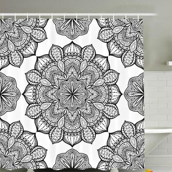 Black White Mandala Design Boho Fabric Shower Curtain