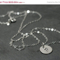 SALE 20%off Stamped Initial Sterling Silver Coin Charm Pendant Necklace Personalized Letter P Disc Monogram