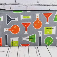 Science Pencil Case, Chemistry Zip Pouch, Test Tubes, Science Gift