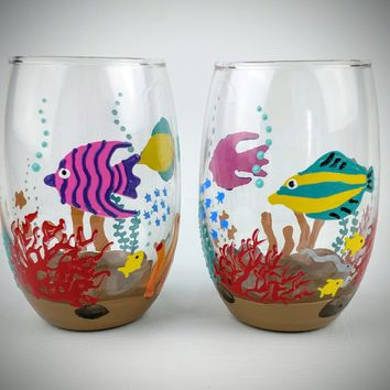 Fish bowl wine glasses, hand painted wine glasses, fish wine glasses, fish theme wine glasses, unique wine glasses, underwater wine glasses