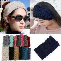 Promotion! Winter Beauty Fashion 13 Colors Flower Crochet Knit Knitted Headwrap Headband Ear Warmer Hair Muffs Band Q1